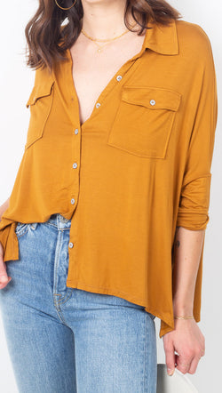 Free People Burnt Orange Button Down Soft Tee
