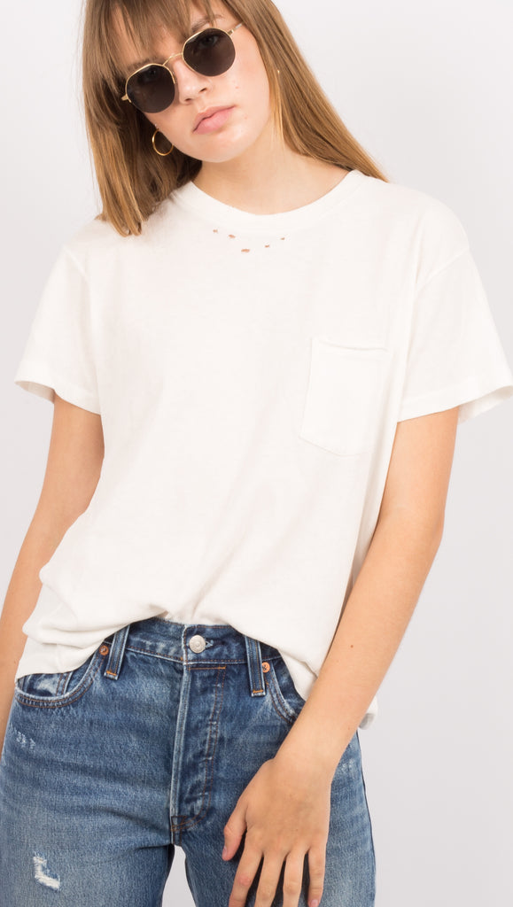 Distressed White Pocket Tshirt