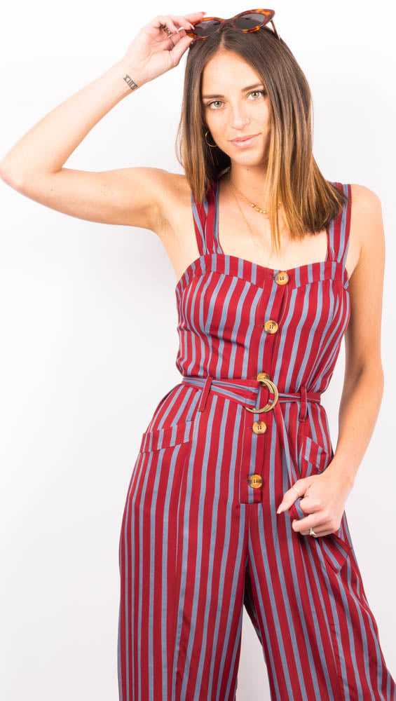 Maroon/Blue Stripe Jumpsuit