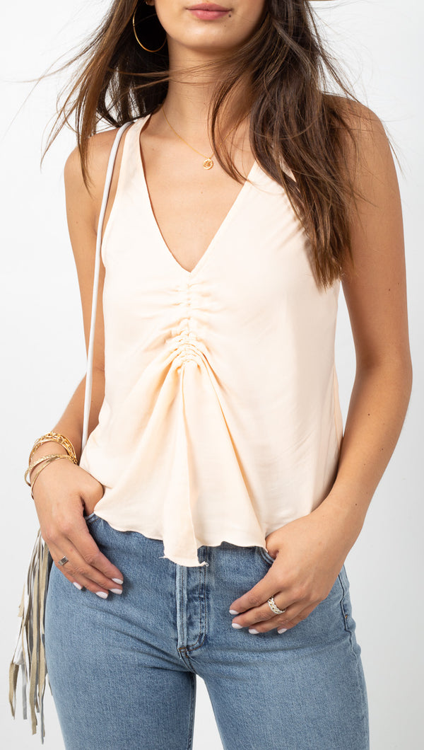 Free People Cream Silky Cami With Cinched Front Detail