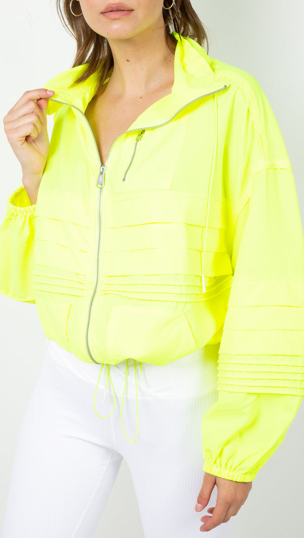 Free People Neon Yellow Zip Warm-Up Jacket