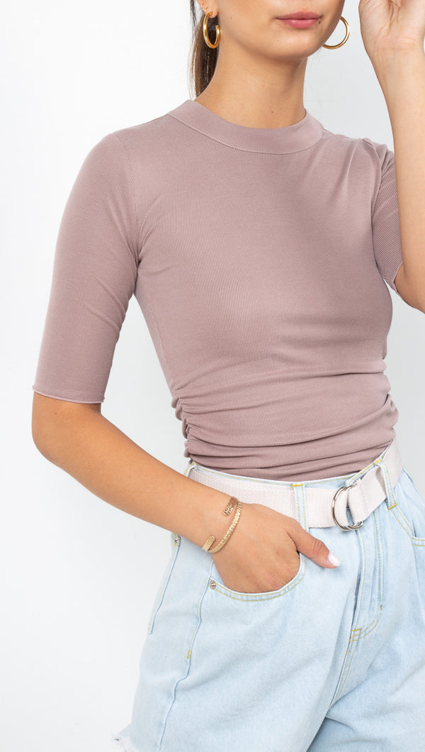 Free People Taupe Half Sleeve Top with Side Ruching