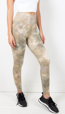 Free People Green Tie Dye High Rise Leggings