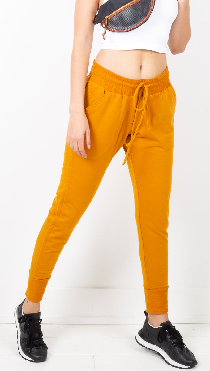 Free People Orange-Gold Tapered Leg Joggers