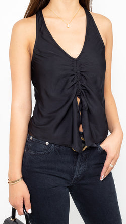 Free People Silky Black Cami With Cinched Front Detail