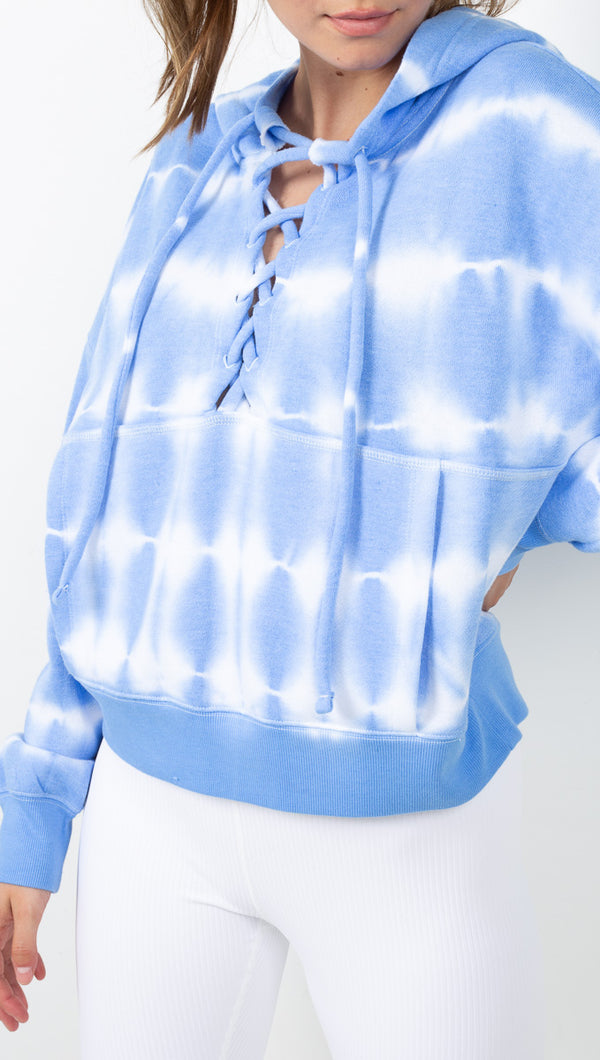 Free People Blue and White Tie Dye Lace Up Hoodie