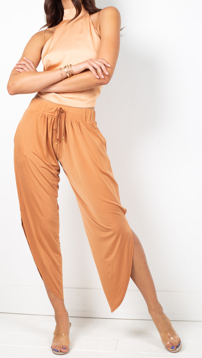 We Are HAH Silky Brown High Rise Soft Pants With Side Slits