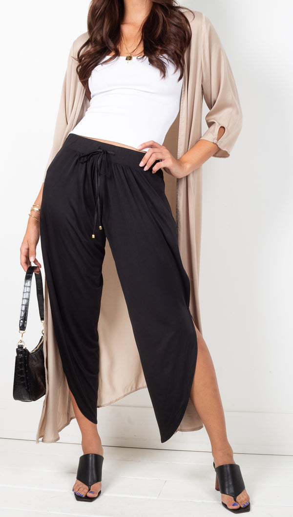We Are HAH Silky Black High Rise Soft Pants With Side Slits