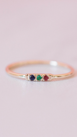 14k gold ring with emerald, blue sapphire, and ruby stones