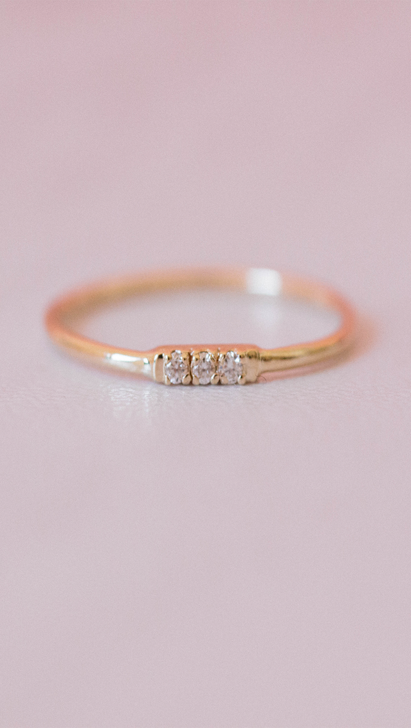 Triple Diamond 14k Gold ring