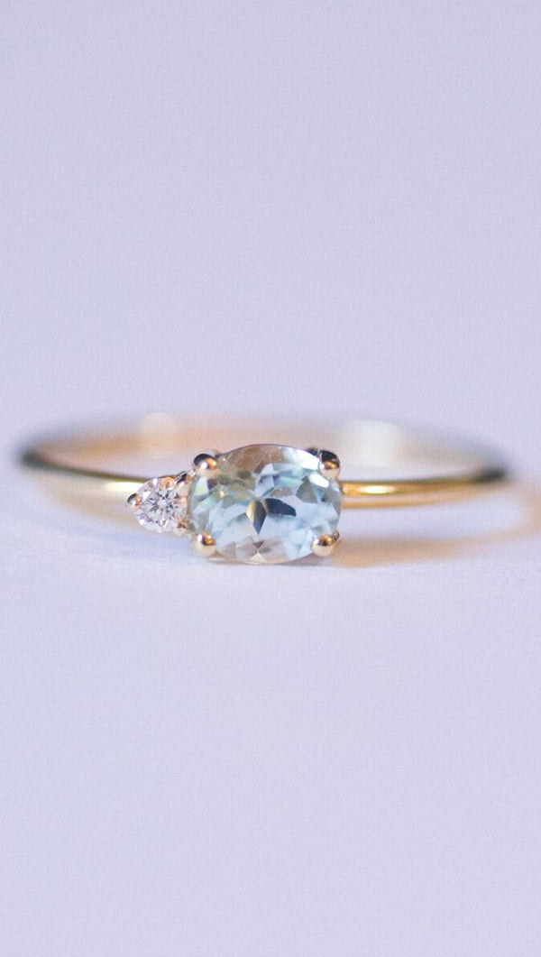 Gjenmi Topaz/Diamond Gold Ring