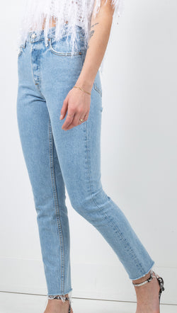 GRLFRND Light Wash High Rise Skinny Jeans