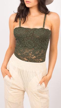 Hot As Hell Green Lace Lace Up Bodysuit