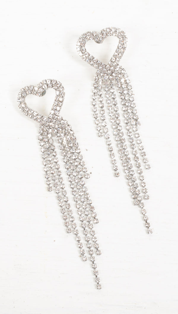 Heartstrings Crystal Dangling Earrings - Silver