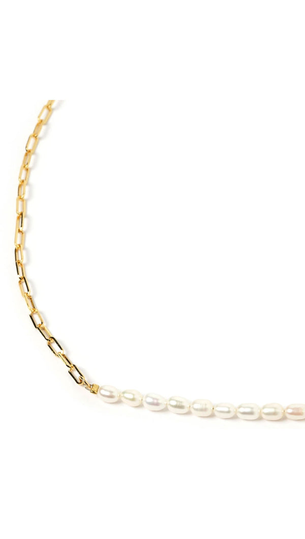 Horizon Necklace - Gold and Pearl