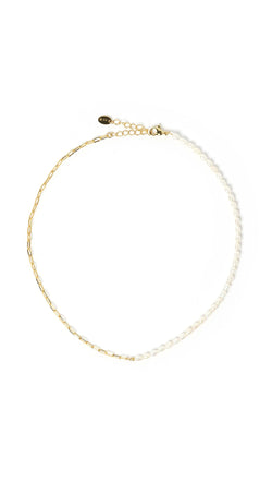 half chain half pearl necklace gold