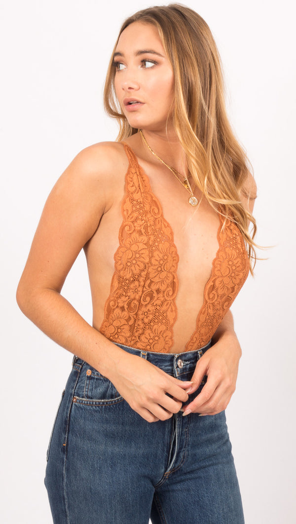 Hot As Hell Brown Lace Bodysuit
