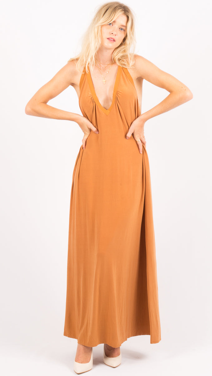 Hot As Hell Brown Maxi Dress