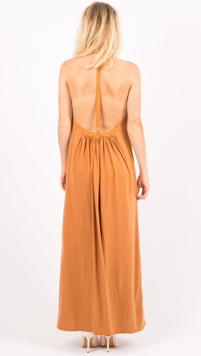 Hanging By A Thread Dress - Brown Sugar