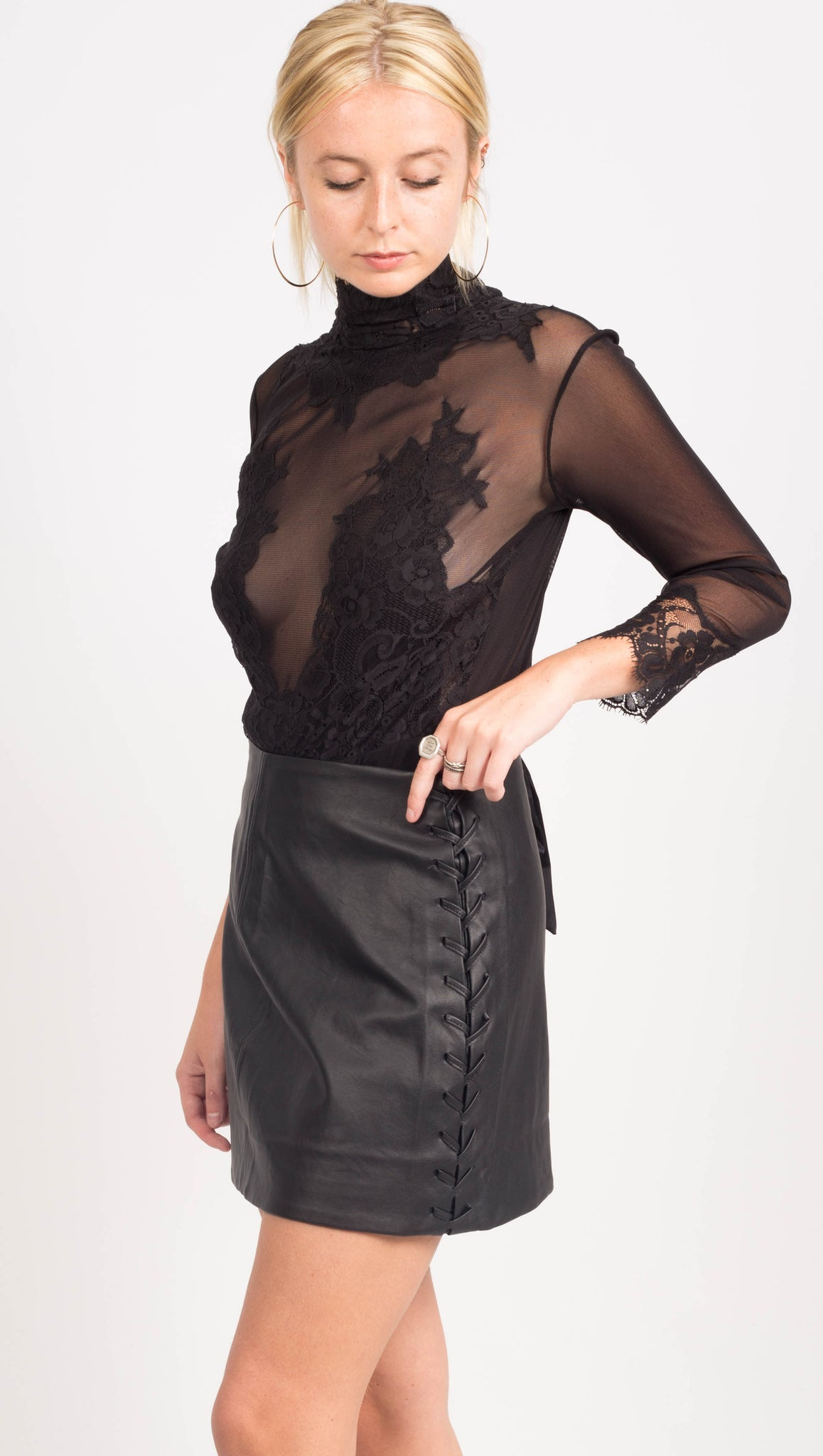 Hot As Hell Black Lace Embroidered Bodysuit