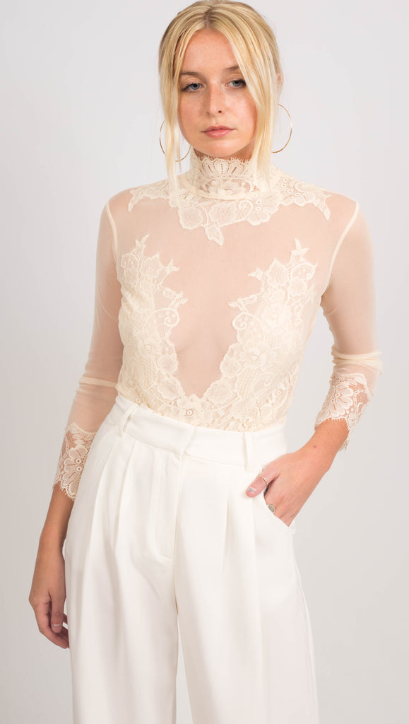 Hot As Hell Cream Lace Embroidered Bodysuit