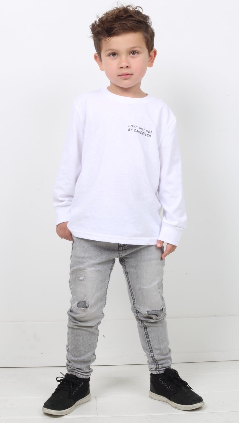 Kids White Long Sleeve Tee With Printed Quote