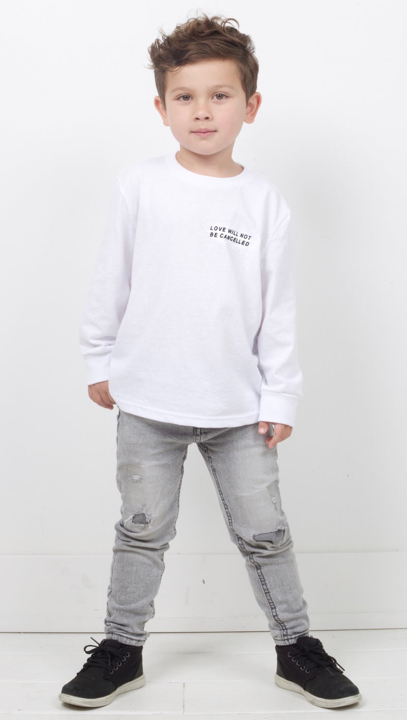 Love Will Not be Cancelled - White Kids Longsleeve Tee