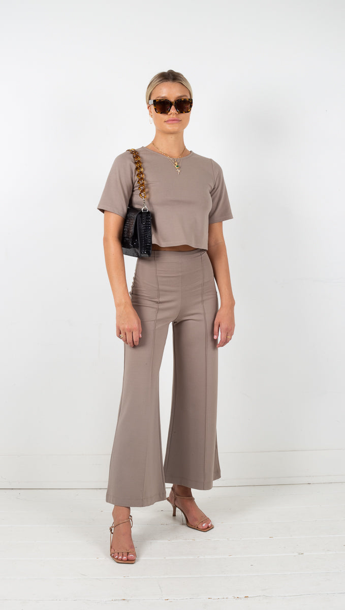 Wide Leg Pant Ankle Edit - Mocha