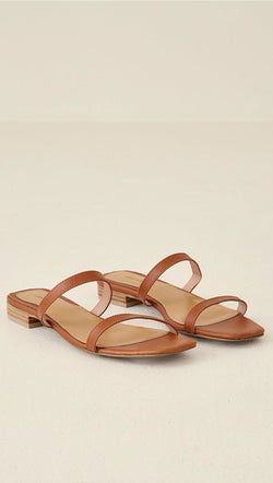 Jaggar Brown Leather Strap Slip-On Sandals
