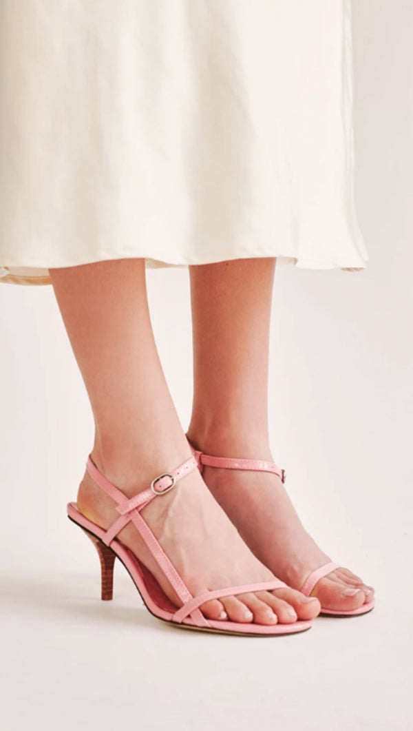 Jaggar pink leather strappy heel