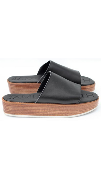 Black Leather Strap Wooden Slide