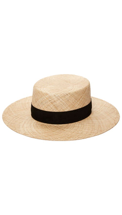 Janessa Leone light straw hat with black band
