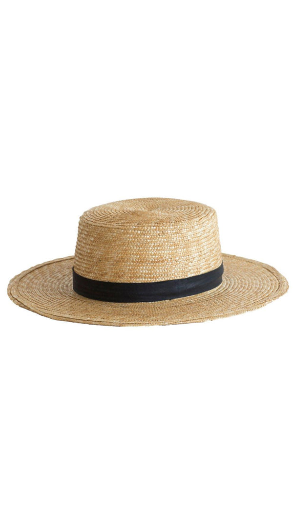 Janessa Leone Natural Straw Hat with Black Band