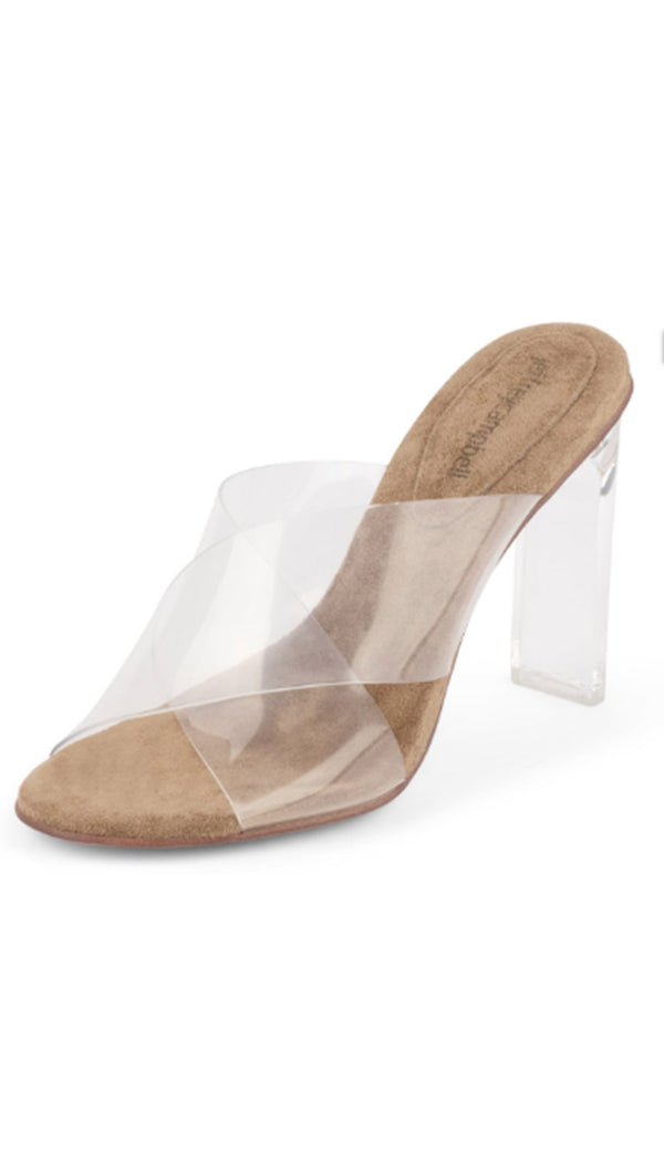 Jeffrey Campbell Nude Suede Clear Mules