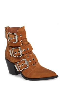 Jeffrey Campbell Tan Suede Booties With Buckles