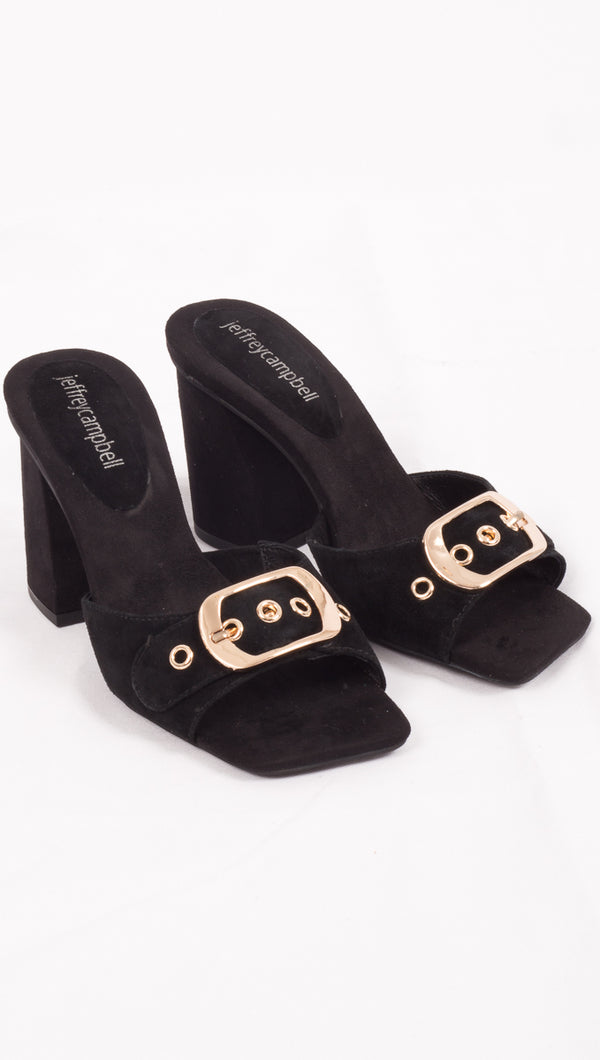 Jeffrey Campbell Black Suede Heels with buckle