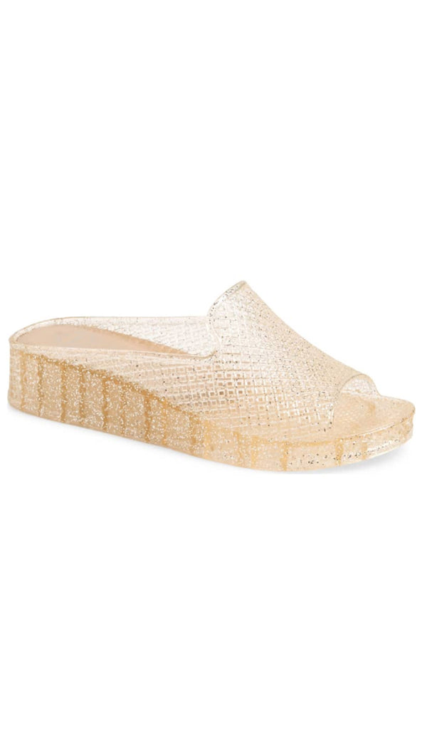 Jeffrey Campbell Glitter Jelly Wedge Sandals