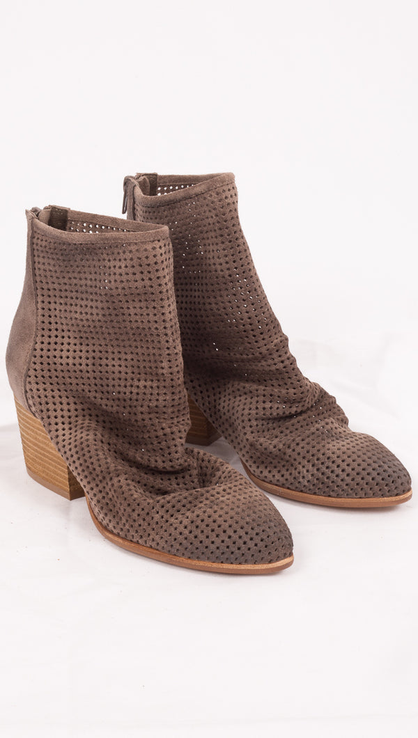 Jeffrey Campbell Taupe Suede Perforated Boots