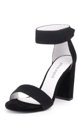 Black Suede Strappy Block Heel