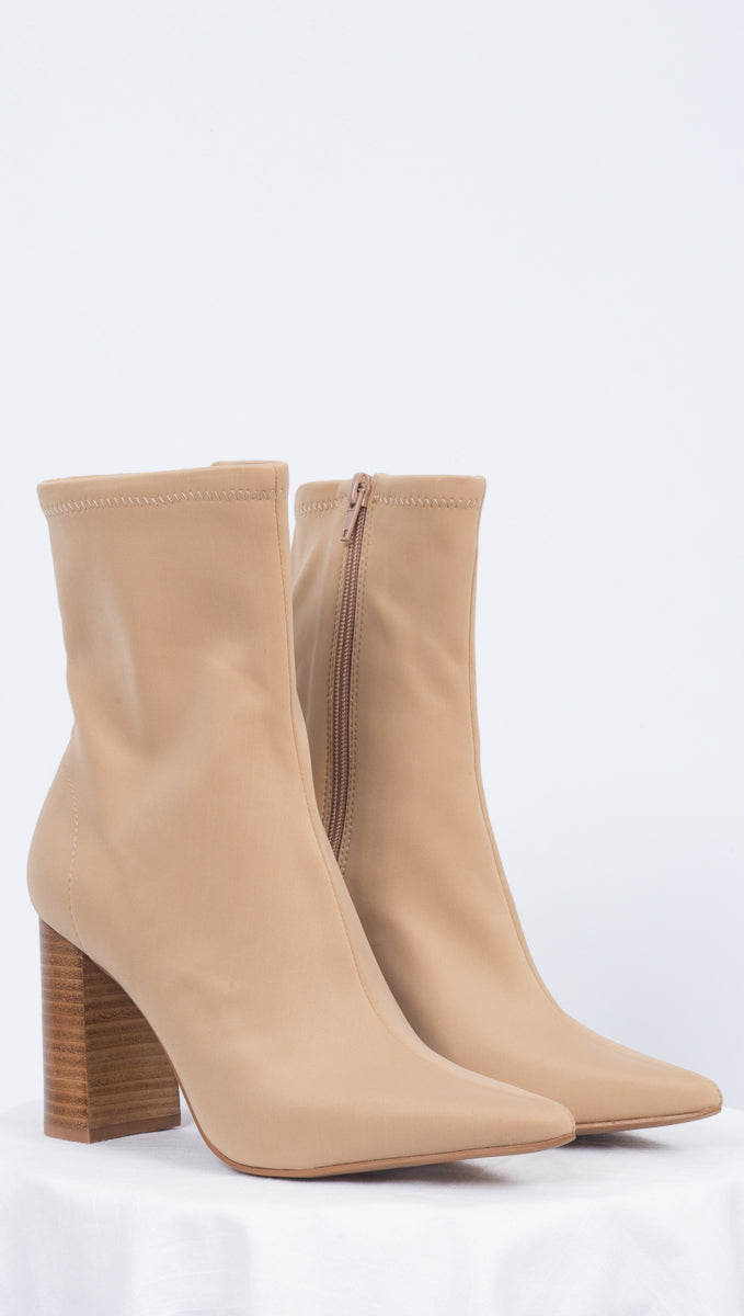 Jeffrey Campbell Tan Neoprene Boots With Pointed Toe