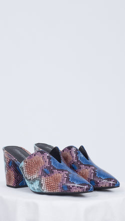 Jeffrey Campbell Blue and Purple Snakeskin Print Mules