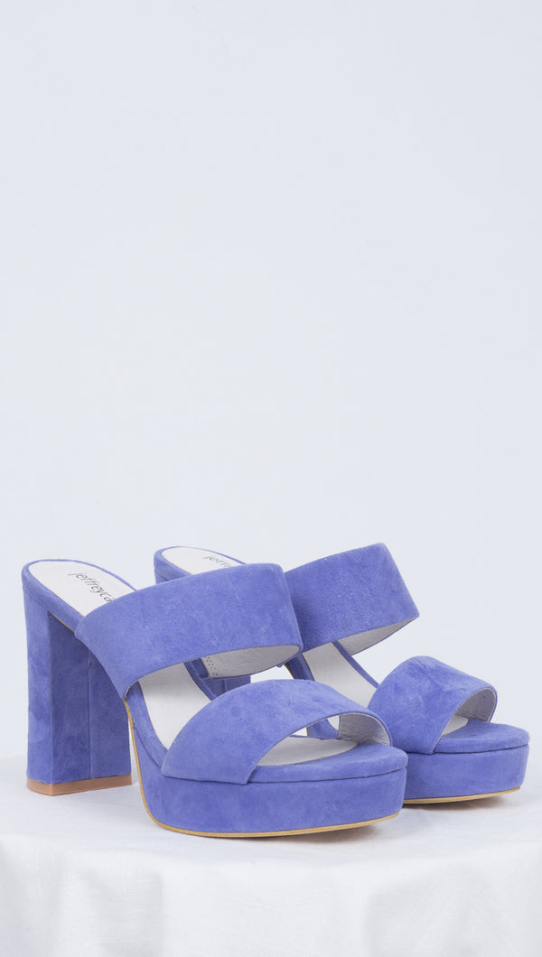 Jeffrey Campbell Purple Suede Chunky Heels With Thick Straps