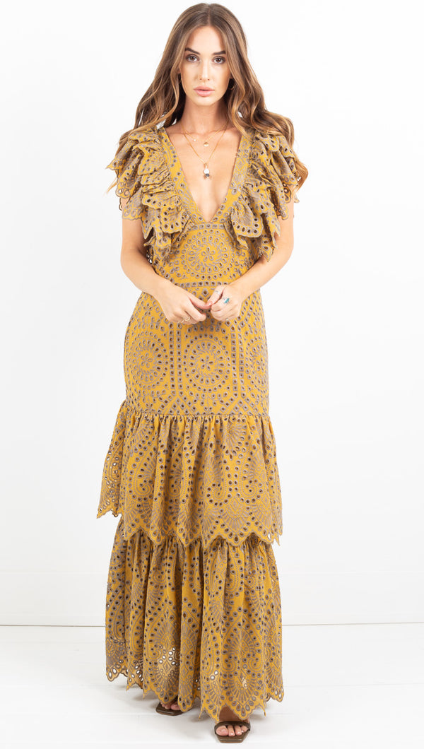 Flamenco Maxi Dress - Citrine Mariachi Eyelet