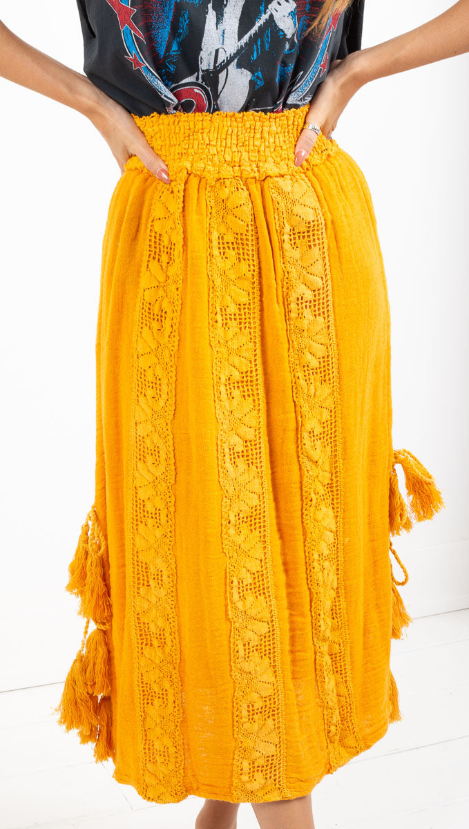 Jen's Pirate Booty yellow high waist crochet midi skirt