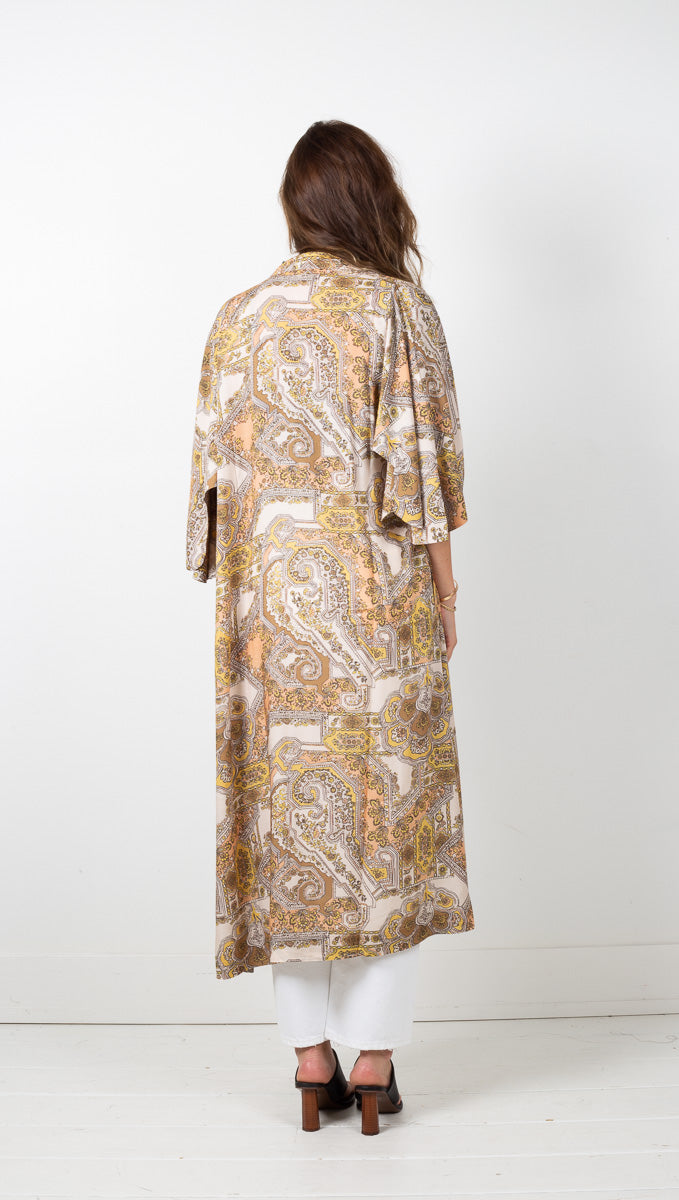 The Lottie Robe - Peach Geo Paisley