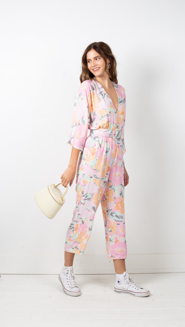 Camilla Jumpsuit w/ Belt - Wind Floral