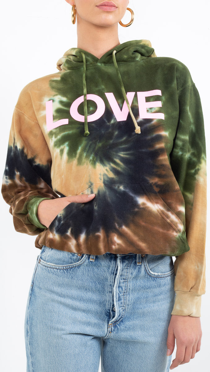 "JET Josh Eshaya brown/green tie dye hoodie with pink ""LOVE"" graphic"