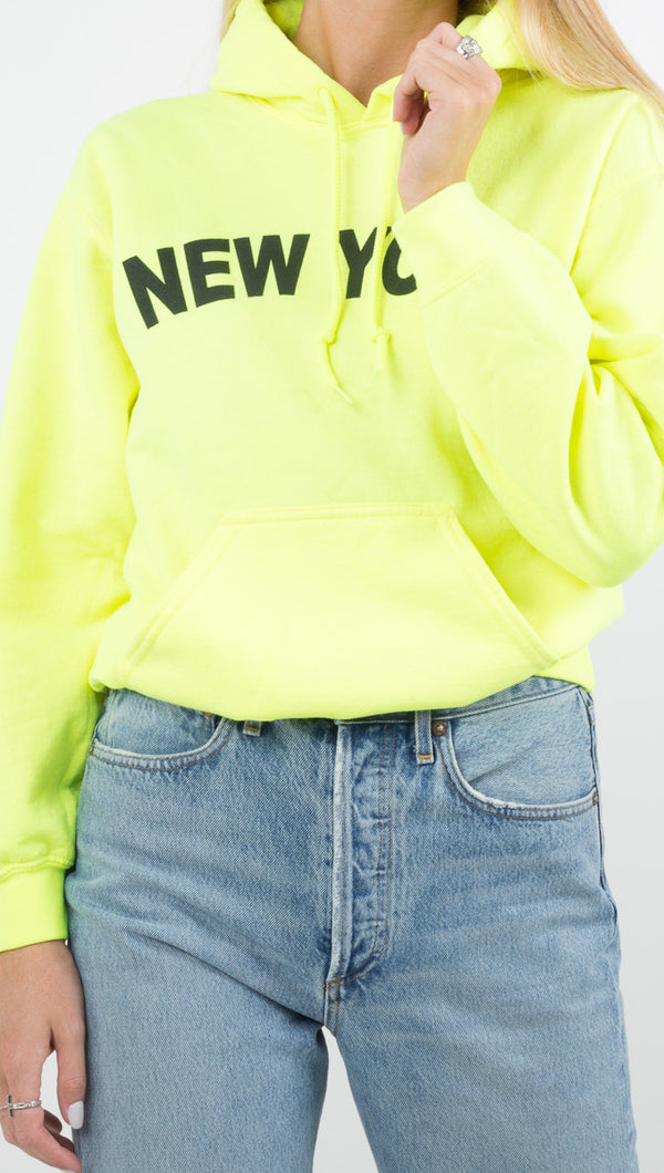 "JET Josh Eshaya neon yellow hoodie with ""New York"" graphic"
