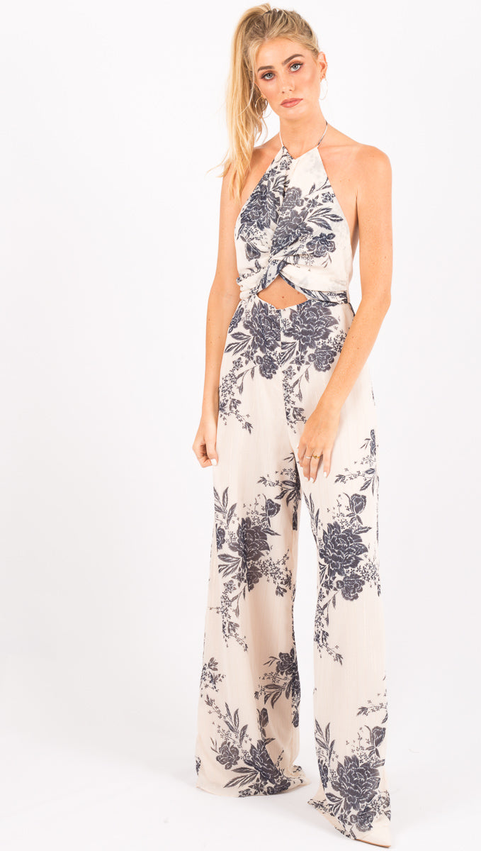The Jetset Diaries Blue and White Floral Jumpsuit