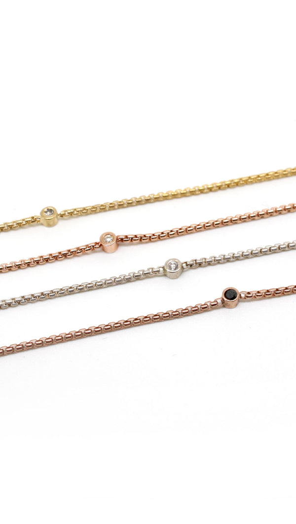 JNB Rose Gold Single Black Stone Choker Necklace